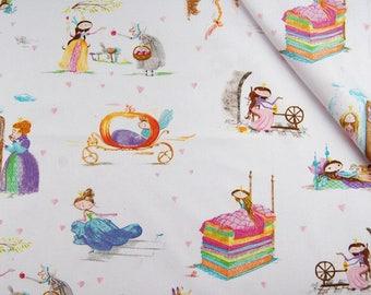 FAIRY TALES Cotton Fabric by the yard,  PRINCESS 100% Cotton Fabric Fat Quarter, Quilt Fabric, Quilting Fabric, Nursery Decor Fabric kids