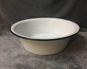 Enamel Wash Basin Enamelware French Country Farmhouse Decor Black & White Enamel Bowl