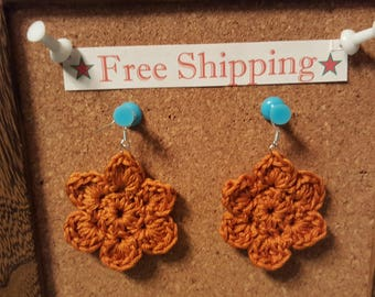 Bronze Crochet Flower French Hook Earrings sterling silver earrings flower earrings bronze earrings free shipping crochet accessories gift
