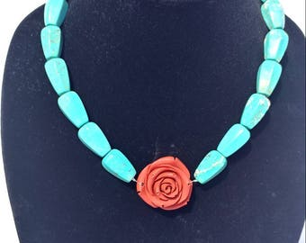 Turquoise Necklace with red flower