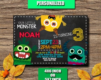 Monster Invitation / Monster Birthday / Monster Birthday Invitation / Monster Party / Monster printable / Monster Personalized