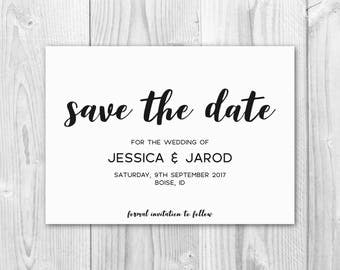Save the Date Printable, Save the Date Wedding Template, Wedding Printable, Editable Save the Date, PDF Instant Download, S03