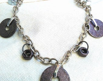 Necklace with bolts and washers