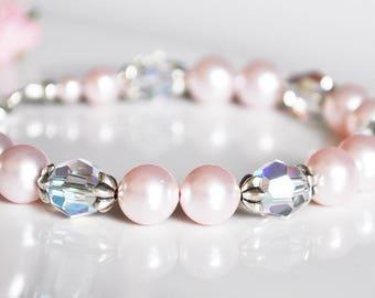 Pink Bridesmaid Bracelet, Pearl Bracelet, Bridesmaid Bracelet, Bridal Jewellery, Bridesmaid Gift, Wedding Gift