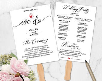 We Do Wedding Program Fan Printable Template, DIY Wedding Program, Wedding Program Editable, Ceremony Printable, PDF Instant Download WD127