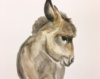 ORIGINAL Burro Watercolor Painting