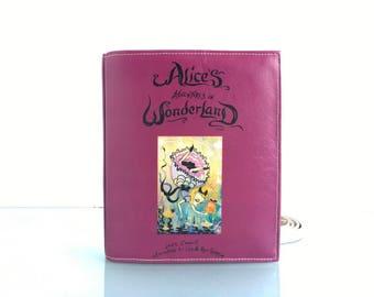Alice in Wonderland Leather Book Bag