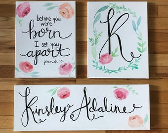 Custom Nursery Watercolor Canvas Set - Nursery Decor - Set of 3