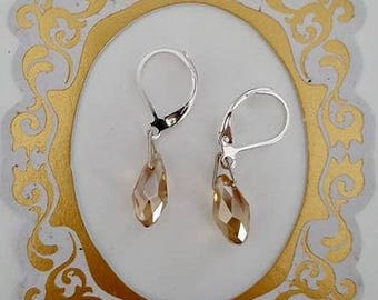 925 Sterling Silver Yellow Austrian Crystal Briolette Drop Earrings