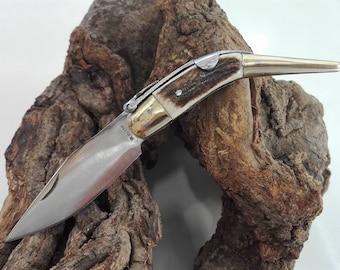 Small knife tip of deer - Small deer stag pocket knife