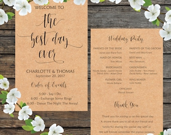 The Best Day Ever, The Best Day Wedding, DIY Wedding Program, Fun Wedding Program, Printable Wedding Program Fan - INSTANT DOWNLOAD