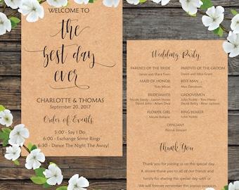 Wedding program fan, The Best Day Ever, The Best Day Wedding, DIY Wedding Program, Printable Wedding Program Fan - INSTANT DOWNLOAD