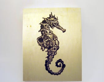The Seahorse Study- Original Painting on Wood