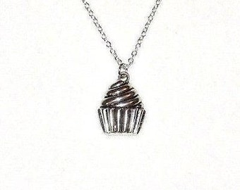 "Cupcake Necklace Chef Cooking Dessert Silver Plated 925 18"" Chain Pastry Gift Baker Bakery Cute"