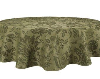 Oval Tablecloth Affordable Elegance | Round Tablecloths | Linen Cotton  Blend Material   Green Floral Pattern