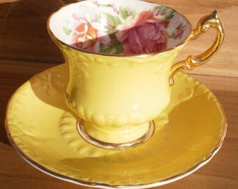 Vintage Paragon Bone China Cup & Saucer Set Yellow w/ Rose Scalloped Mid-Century