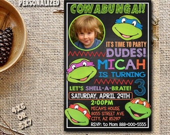 Ninja Turtle Invitation / Ninja Turtle Birthday / Ninja Turtle Birthday Invitation / Ninja Turtle Party / Ninja Printable-NR83