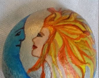 Sun and Moon Stone Painting/ Rock Painting