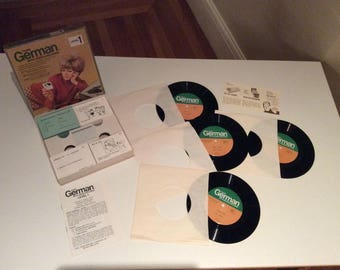 Vintage 45rpm Vinyl Vis-Ed THINK GERMAN Level 1 w/ Cards & Records - Language Instruction