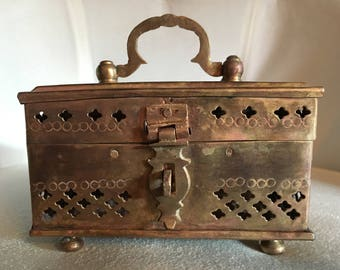 Vintage Indian Brass Cricket/Potpourri/Jewlery/Incense Box