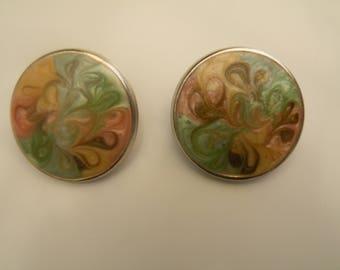 Vintage Gold Tone and Enamel Earrings, Vintage Color Swirl Earrings, Vintage Pastel Earrings, Vintage Post Earrings