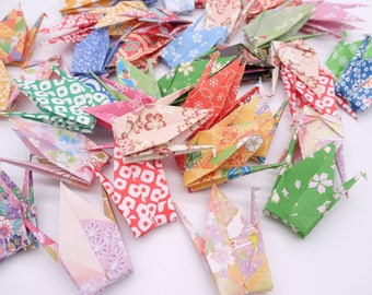 Ready to ship!100 3'' Multicolored Flower Origami paper crane,Make a wish,Washi Chiyogami,Cute Origami crane,wedding,party,Decoration,Card