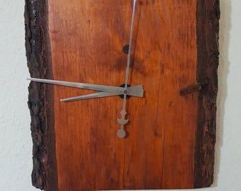 Rustic elegant wooden wall clock solid wood handcrafted unique vintae 29 x 28 cm