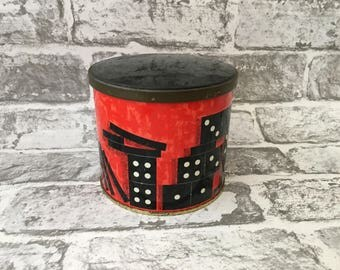 Cadbury Bros Ltd bournville Tin, Dominos Metal tin with lift off lid, black and red tin dominos pattern