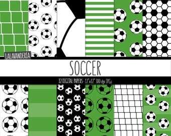 Soccer Digital Paper Pack with Soccer Balls Patterns. Sports Backgrounds. Football Digital Scrapbook. Instant Download. Commercial Use.