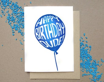 Linocut Greeting Card // Happy Birthday //  Balloon // Dude //