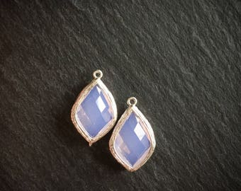 2 x Pink Opal Connectors, Faceted Glass Connector Pendant