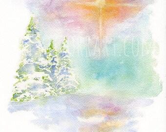 CHRISTMAS STAR PRINT - christmas, christmas print, christmas art, home wall decor, art decor, watercolour, star of david, christmas artwork