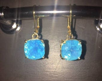 Bright Blue Clear Crystal Earrings