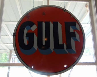 Vintage Gulg Sign Double Sided