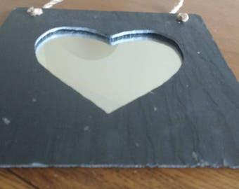 Handmade slate heart mirror in square shape