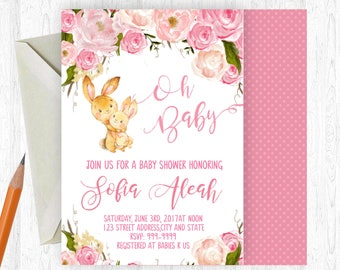 Bunny Baby Shower Invitation, Easter Baby Shower Invitation, Rabbit Baby Shower, Watercolor Floral, Printable OR Printed