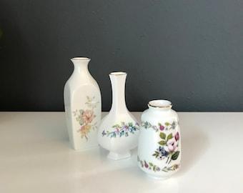 Set of 3 Mini Floral Vases - trio of mini vases