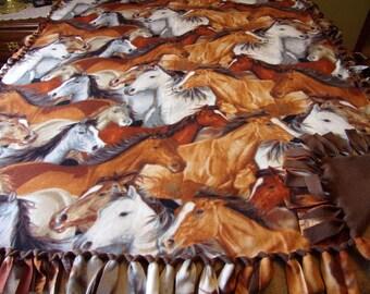 Handmade fleece tie blanket with horses