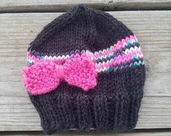 Handmade knit newborn baby hat