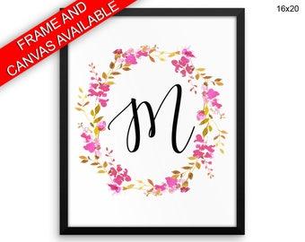 M Initial Canvas Art M Initial Printed M Initial Letters Art M Initial Letters Print M Initial Framed Art M Initial Monogram Floral Initial