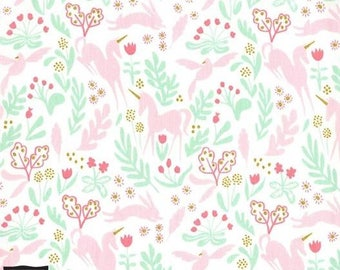 Magic Folk Unicorn Metallic Accent Cotton Fabric - Magic Collection - Sarah Jane - Michael Miller Fabrics