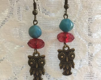 red and turquiose owl earrings
