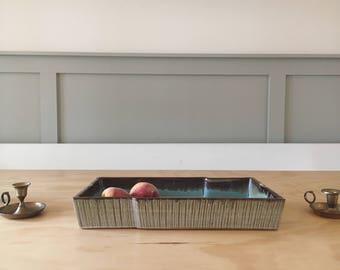 Unique vintage ceramic tray with turquoise glaze