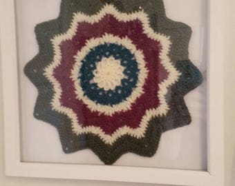 Hand made crochet mandala set in 12x12 white box frame.