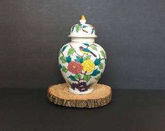 Vintage ginger jar with floral design