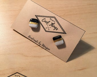 Black, Gold and White Square Stud Earrings