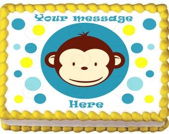 BOY MOD MONKEY edible cake topper party image