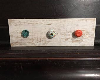 Coat/Jewelry Rack with Distressed White Wood & Whimsical Knobs