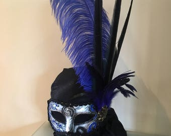 Masquerade ball mask. Black and blue.