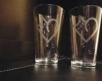 Cat Love Etched Pint Glasses